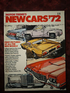 MOTOR TREND 1971 Special Issue 1972 New Cars Domestic U. S. and Import