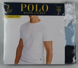 Ralph Lauren Polo 3 pack White Blue Navy Classic Crewneck T-shirts Tee NWT