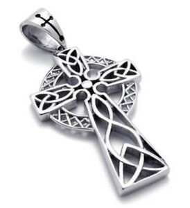 Celtic Cross Necklace & Chain Pendant Silver FC Irish Viking Stainless Steel