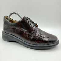 Mephisto Mobils Brown Pebble Patent Leather Cap Toe Comfort Shoes Women's 7.5