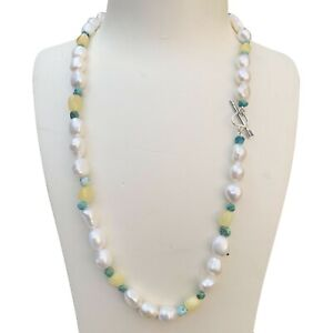 Nice Baroque 100%freshwater white pearl Natural Turquoise Baltic Amber Necklace
