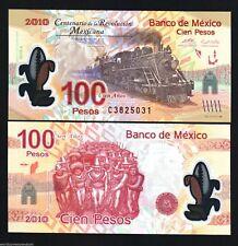 MEXICO 100 PESOS NEW 2010 COMMEMORATIVE POLYMER TRAIN 100 ANY REVOLUTION NOTE