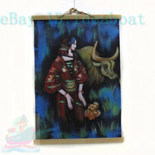 Chinese Art 60x40CM Hand Painted on Leatherette wall hanging decor-Tibetan Girl