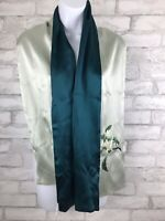 """NWT Chinese Silk Scarf Original Design Two Sided Green Embroidery Floral 61x14"""""""