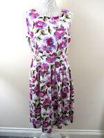Izabel London skater dress size 12 purple watercolour floral pleated nwot unworn