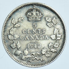 CANADA, GEORGE V 5 CENTS, 1912 SILVER COIN EF