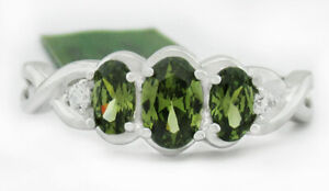 PERIDOT 1.16 Cts & WHITE SAPPHIRES RING .925 STERLING SILVER NWT Size 8