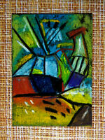 ACEO original pastel painting outsider folk art brut #010326 abstract surreal