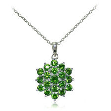 Sterling Silver Created Emerald Flower Necklace