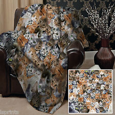 CATS ALL OVER DESIGN SOFT FLEECE BLANKET COVER LARGE CHAIR THROW BED WARM