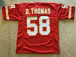 UNSIGNED CUSTOM Sewn Stitched Derrick Thomas Red(stripes) Jersey - M, L, XL, 2XL