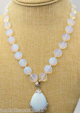 """Stunning 14mm Coin White Moonstone&Opal Pendant Necklace 18"""" AAA"""