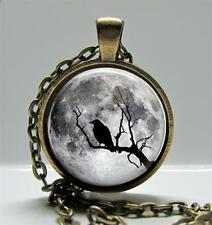 "Tree Moon & Raven Pendant Charm or Key Chain 1"" Round Bronze Setting Goth 09"