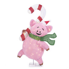 OUTDOOR CANDY CANE PIG Christmas Yard Decoration Warm White LED Lights