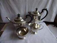 ANTIQUE ART DECO 4 PIECE SILVER PLATED  EPNS TEA SET SHEFFIELD