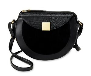 Women's Crossbody Bag Purse BLACK - Time and Tru Bailey with Front Magnetic Flap