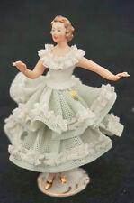 Vintage German Sandizell Porcelain Dresden Lace Figurine