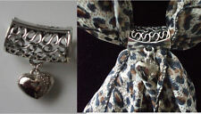 Scarf Bail Ring Heart Design Silver Coloured + Free Gift Bag