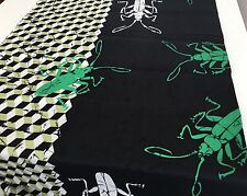 Bugs fabric X 1 metre, 100% cotton, black green white mix, crafts, sewing