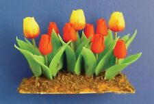 1:12 Scale Red & Yellow Tulips Dolls House Miniature Flower Garden Bed Accessory