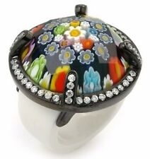 ALAN K. MURANO GRAND COLLECTION FACETED MULTICOLOR ROUND GLASS RING W/WHITE CZS