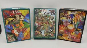 Butterflies / Woodland / Marine Animal Awareness Jigsaw Puzzles Bundle 1000 Pc