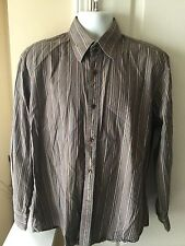 Faconnable Men's Multi-Color Stripe Long Sleeve 100% Cotton Shirt Sz Large