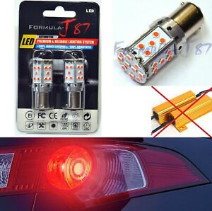 Canbus Error Free LED Light PY21W Red Two Bulbs Front Turn Signal Replace Lamp