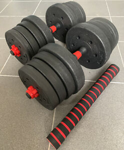 30kg Adjustable Barbell Dumbbell Weight Lifting Set Pair Home Gym Dumbell 15 20
