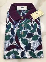 Thomas E Wilson Embroidered Leaves 80's Country Club Mens Golf Polo Shirt Small