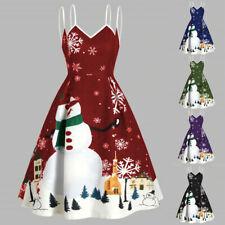 Women Merry Christmas Snowman Snowflake Print Camis Sleeveless Dress Plus Size C