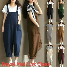 Womens Dungarees UK Ladies Overalls Baggy Casual Oversized Tank Autumn Jumpsuit