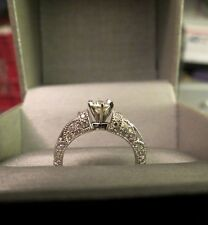 14k White Gold Diamond Engagement Ring Antique Style .30ct Ctr 34 Accent 4.13g