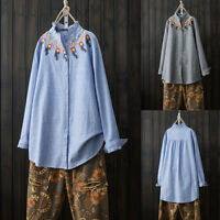 ZANZEA Women Long Sleeve Embroidered Shirt Tops Stripe Loose Blouse Plus Tops