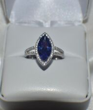7 CARAT PREMIUM AAA TANZANITE & 76 FLAWLESS DIAMONDS COCKTAIL GYPSY 14K GP S 6