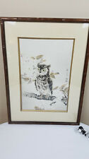 Owl Print Woodblock Signed Eiichi Kotozuka Japanese Collector's Guild LTD Framed