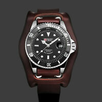 Military Royale Mens Watch Automatic Silver Case Brown Leather Gloss Date Army