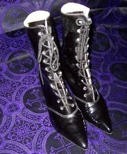 Vintage 90s Victorian Mid-Calf Boots - Black Patent Leather  - US W9 - Goth