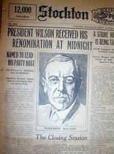 1916 display newspaper DEMOCRATS nominate WOODROW WILSON candidate for PRESIDENT