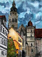 coburg germany historic watercolor painting landscape art print cityscape