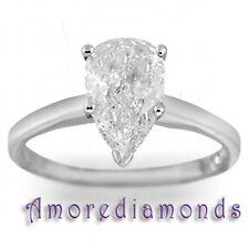 1 ct I VS natural pear shape diamond solitaire engagement ring platinum size 5.5
