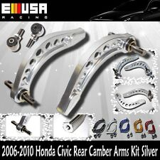 EMUSA Rear ADJ Camber Arms for 06-13 Honda Civic DX LX EX Si Hybrid SILVER