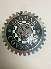 NEW Indoor/Outdoor Jaguar Coventry Badge Emblem- Adhesive Backed- Chromed Brass