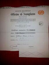 SOCIETA' NAZIONALE OFFICINE DI SAVIGLIANO  Azione 1949