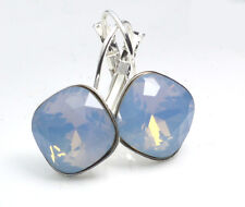 Silver Plated Earrings made with Swarovski Crystals SHEENA *AIR BLUE OPAL* 12mm