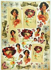 Papel De Arroz-Vintage Dama Mariposa-Para Decoupage Decopatch Scrapbook Craft