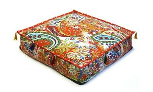"""Indian Square Paisley Kantha Cushion Cover Floor Pillow 22"""" Inches Cushion Cover"""