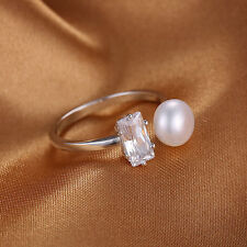7mm  White Freshwater Pearl & Cubic Zirconia Sterling Silver Ring Size 6