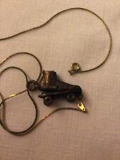 Vintage Roller Skate Necklace Bronze Colored Tobacco Roach Clip Cig holder