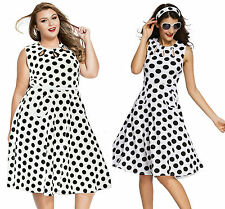 Ladies White Polka Dot Print Vintage Skater Dress Keyhole retro Evening 14 16 18